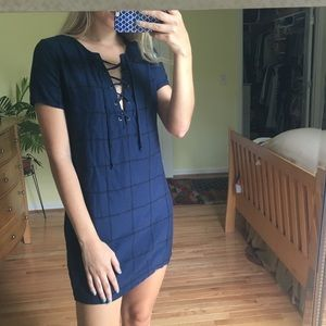 Navy blue dress with black grid stripes